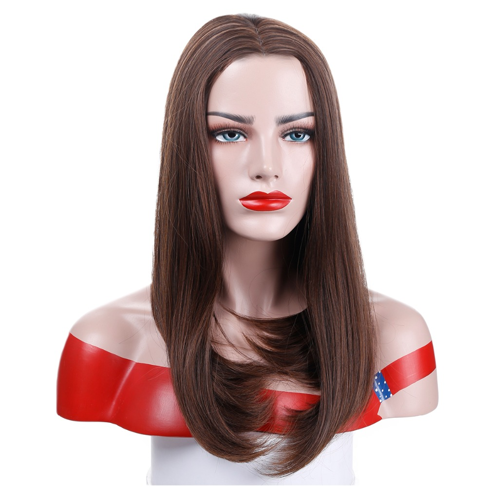 Long Natural Bob Female Wig Heat Resistant Synthetic Hair Wigs For Women Long Wig With Hair Part AOSIWIG