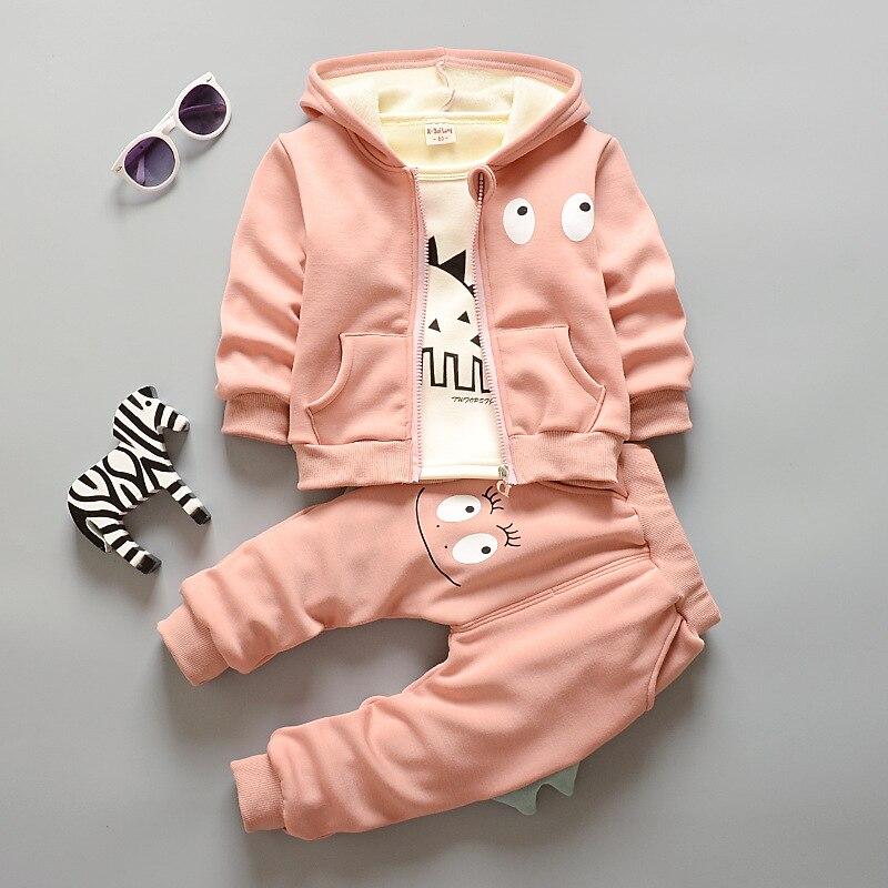 Kids 2016 Plus Hoodies Thick Velvet Suit Boys and Girls Children's Sweater Composite Cashmere Sweater Children's 3pcs Sets
