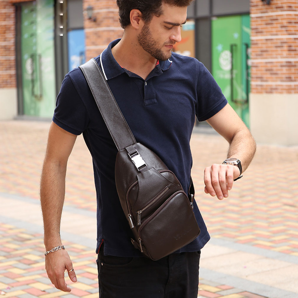 Men Genuine Leather Cowhide Fashion Sling Chest Pack Cross Body Messenger Casual Shoulder Bag Travel Riding Hiking High Quality high quality genuine leather shoulder messenger bag men travel casual cross body bags cowhide male retro single chest back pack