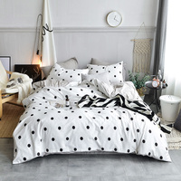 Bedding Set White Spot Pink Cherry Luxury Bed Set Cotton Queen King Size Duvet Cover Set Pillowcase Bed Sheet 3styles