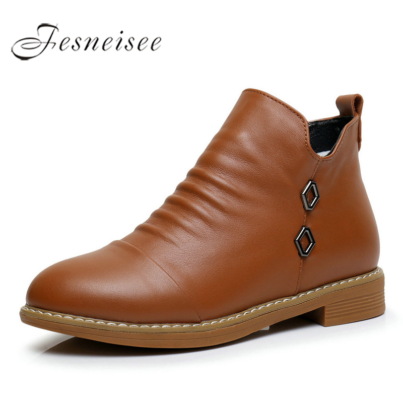 2017 New Fashion Genuine Leather Motorcycle Ankle Boots Female Zipper Low Heels Platform Comfortable Spring Autumn Shoes M4.0 front lace up casual ankle boots autumn vintage brown new booties flat genuine leather suede shoes round toe fall female fashion