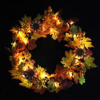 Wreath Home Decoration Accessory Halloween Holiday Christmas Front Door Simulation Maple Leaf Autumn Pumpkin