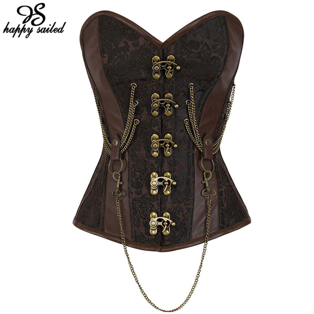 Happy Sailed sexy women Hourglass Chained Steampunk Corset Corpetes 14 Steel Bones lace-up Overbust Corsets and Bustiers 50014