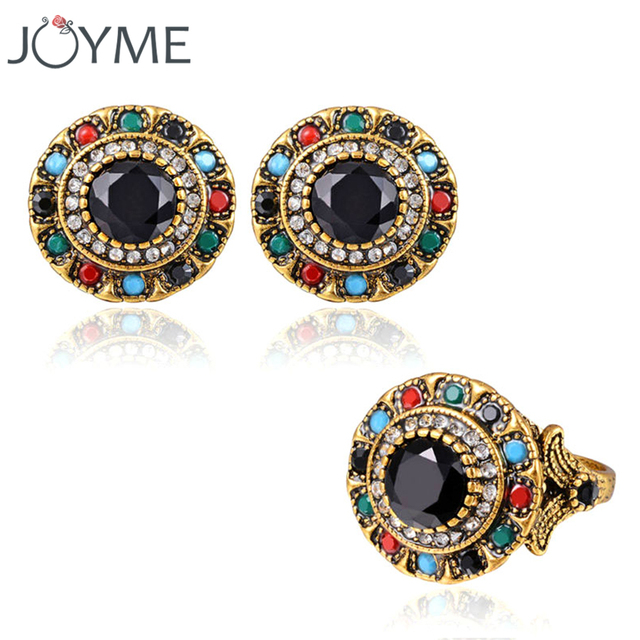 Joyme Brand Plaque African Jewelry Set Round Earring And Gold-Color Wedding Ring