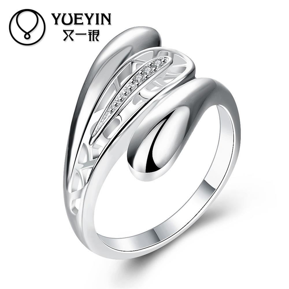 Lose Money Hollow Zircon Big Sale Silver Ring for Women Fashion Jewelry Full Size With