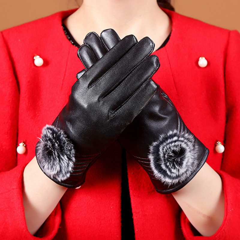 Luxury Brand Ladies Genuine Leather Gloves Sheepskin Winter Warm Mittens Outdoor Driving Touch Screen for Phone Women's Gloves