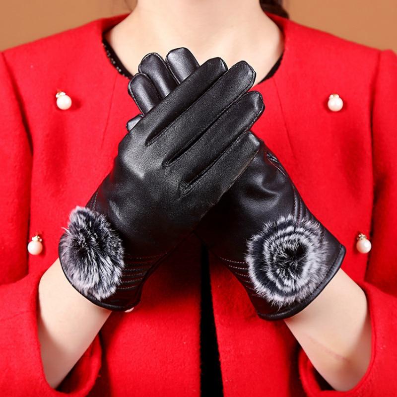 Luxury Brand Ladies Genuine Leather Gloves Sheepskin Winter Warm Mittens Outdoor Driving Touch Screen For Phone Women's Gloves