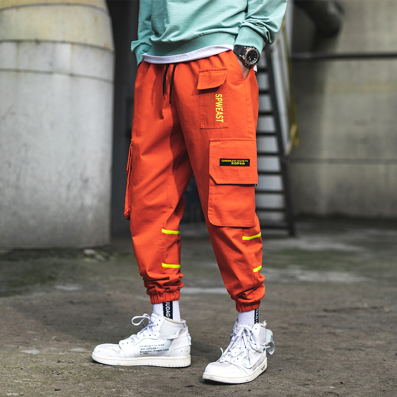 Drop shipping Pockets Cargo Pants Men Color Patchwork Casual Jogger Fashion Tactical Trousers Tide Harajuku Streetwear US Size