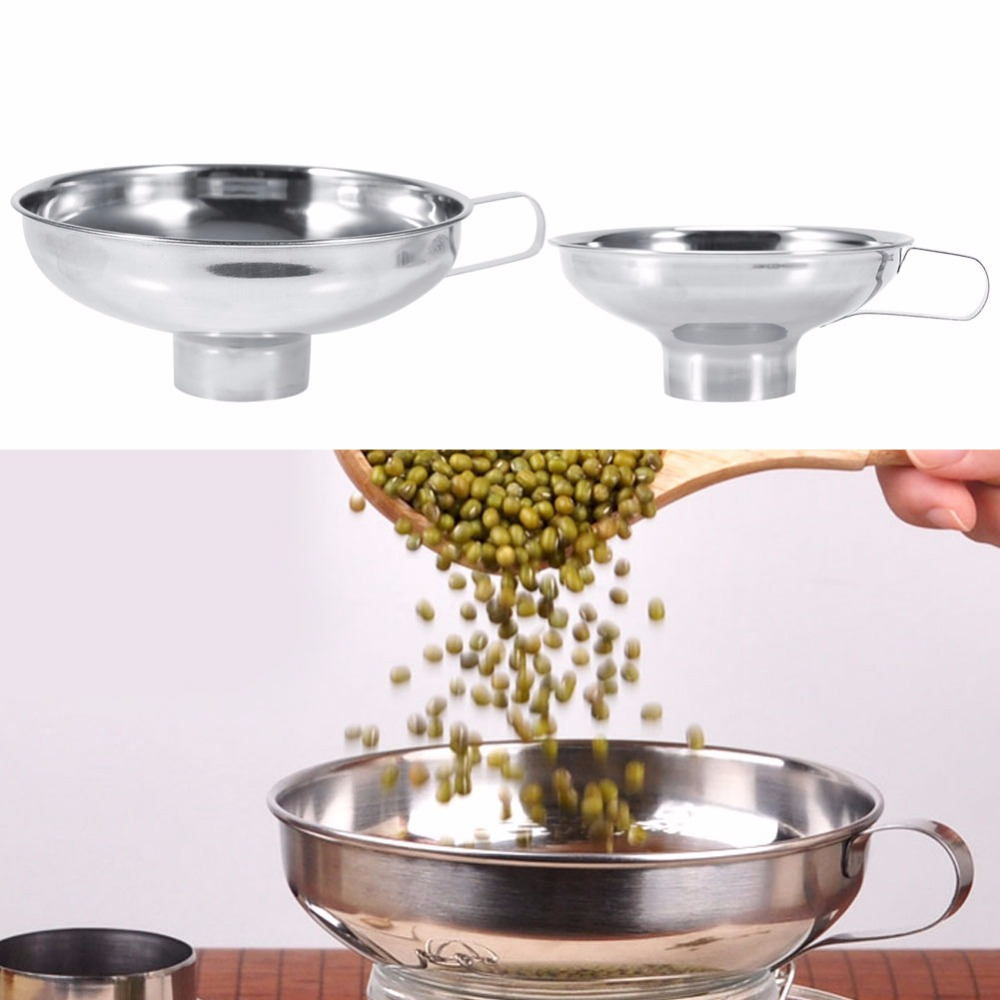 Kitchen Funnel: Stainless Steel Wide Mouth Canning Funnel Hopper Filter
