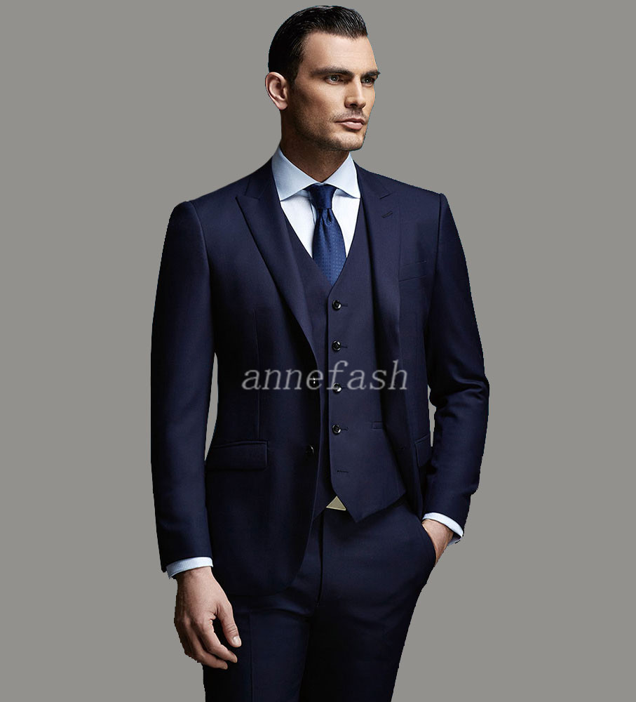 c02b90fdc110a Custom Made wysokiej jakości czystej wełny czesankowej 150's niebieski  garnitur Mężczyźni Slim Fit Garnitur (spodnie + kurtka + kamizelka) w  Custom Made ...