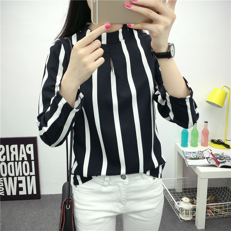 Women Lady Top Long Sleeve Round Collar Stripe Chiffon Fashion Clothing For Party -MX8
