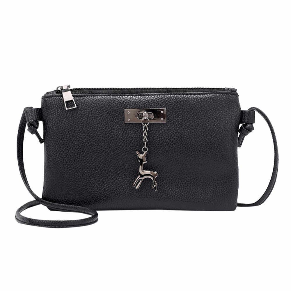 Novo elegante bolsa de ombro feminino selvagem simples mensageiro saco para meninas das mulheres de couro crossbody saco pequeno veado moeda saco k604