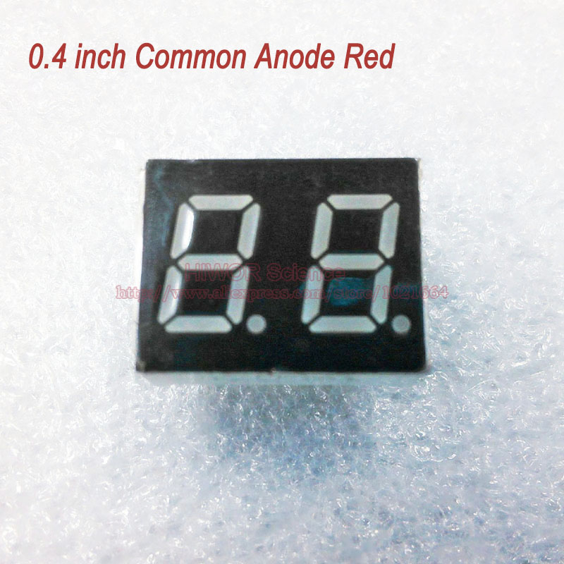 (10pcs/lot) 10 Pins 4021BR 0.4 Inch 2 Digits Bits 7 Segment Red LED Display Common Anode Digital Display Pin2 5 Common Pin