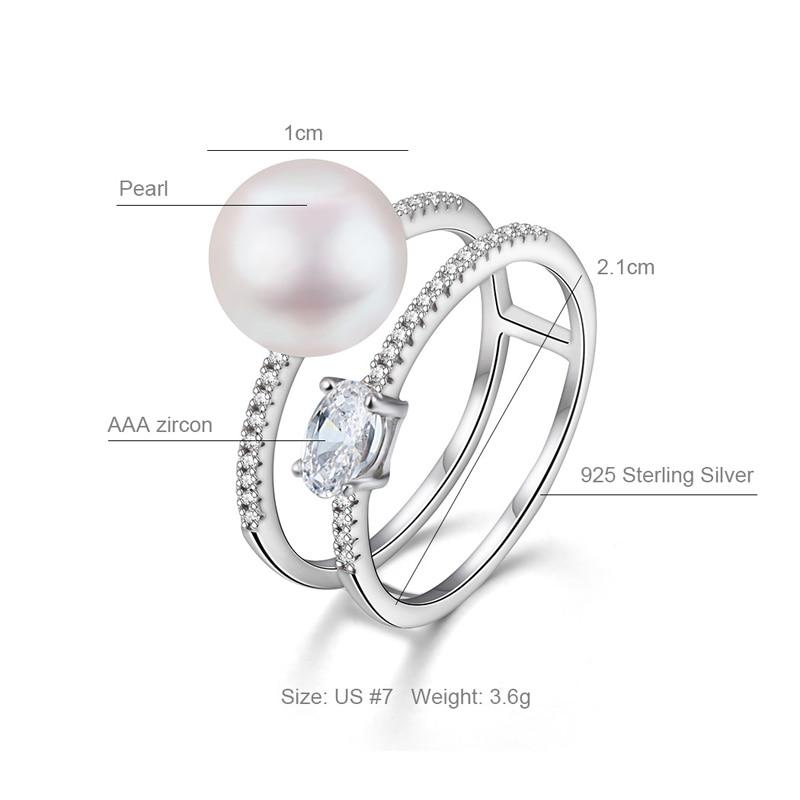 Hongye New Design 100% բնական Pearl Rings 925 - Նուրբ զարդեր - Լուսանկար 5
