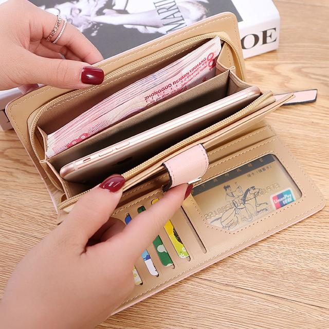 2018 Women Wallet Purse Female Long Wallets Hollow Leave Pouch Handbag For Women Coin Purses Card Holder Portefeuille Femme BY46