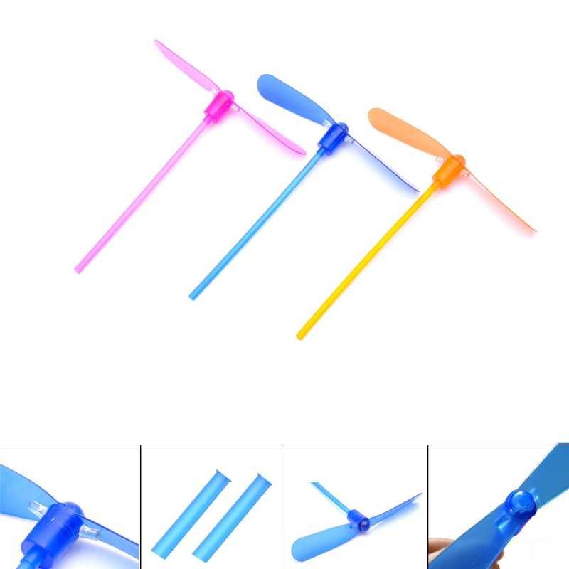 1PC LED Flash Plastik Bambu Dragonfly Baling-Baling Anak-anak Outdoor Tangan Push Hadiah Mainan