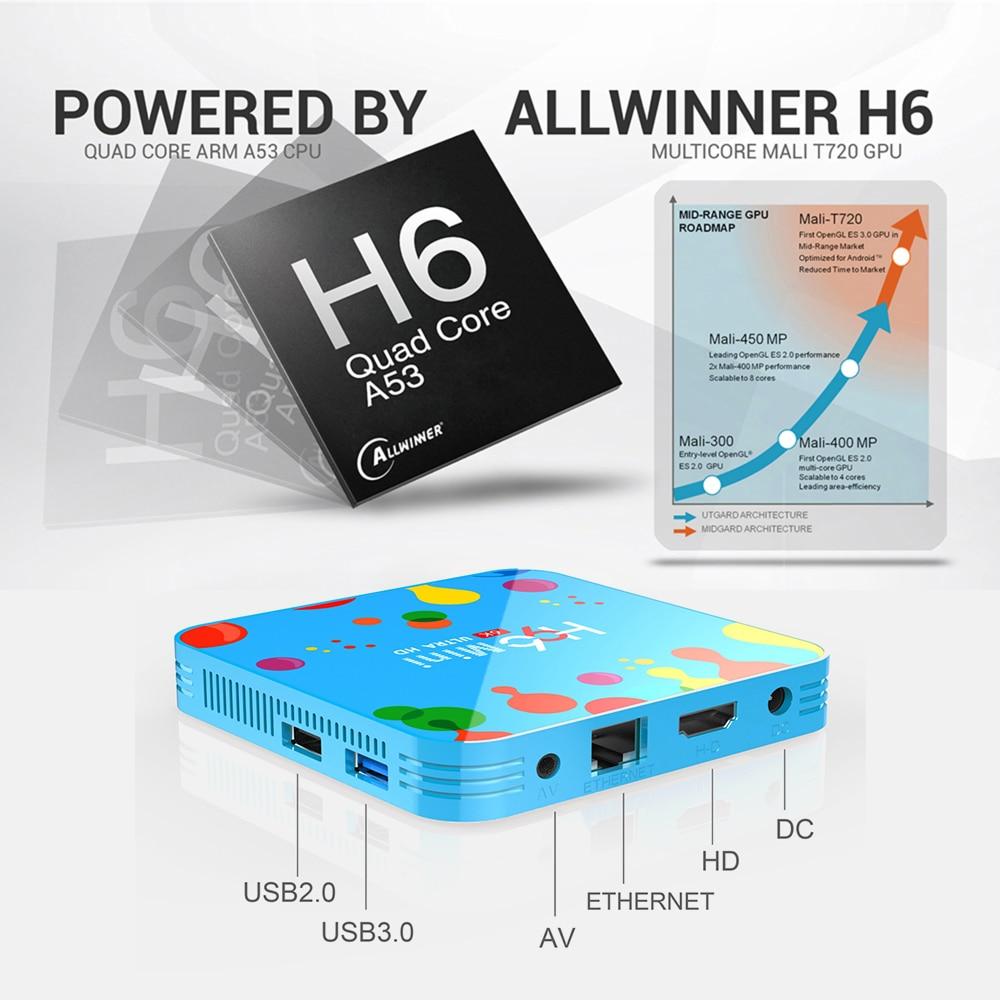 VONTAR 4GB 128GB H96 Mini Android 9.0 TV Box Allwinner H6 Quad Core 6K H.265 Wifi netflix Youtube décodeur H96mini 4GB32GB - 4