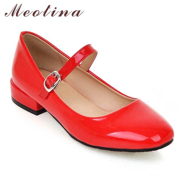 f5193c6801c Online Shop Meotina Flat Shoes Women Mary Jane Ladies Shoes Flats Fall  Buckle School Shoes Ballerina Flats Footwear Black Big Size 9 10 43