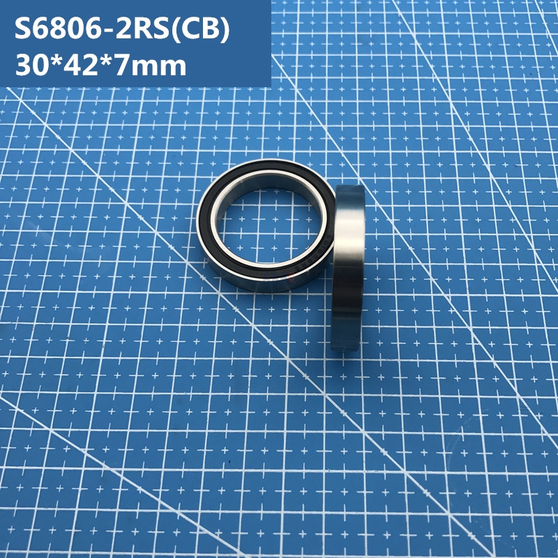 Free shipping 1pcs ABEC-5 S6806-2RS (30*42*7mm) Hybrid ceramic stainless steel ball bearing SR6806 2RS CB for bike S61806RS