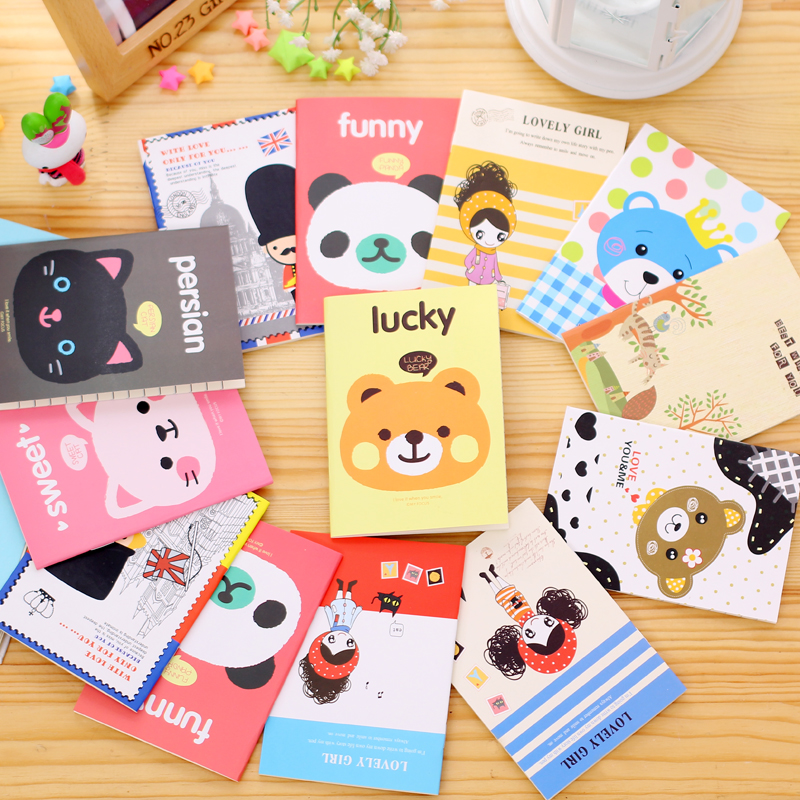 (5 Pieces/lot) Korea Stationery Mini Notebook Kids Cartoon Portable Little Book Student Notebook Notepad