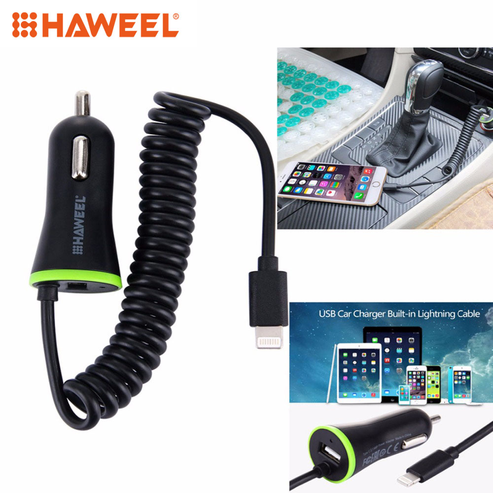 iphone 6 car charger haweel 5v 2 1a 8 pin usb car charger with cable for 14951