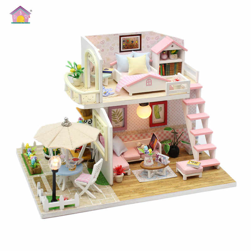 Hoomeda New arrival Miniature Wooden Doll House With DIY Furniture Fidget Toys For Kids Children Birthday Gift Pink Loft M033