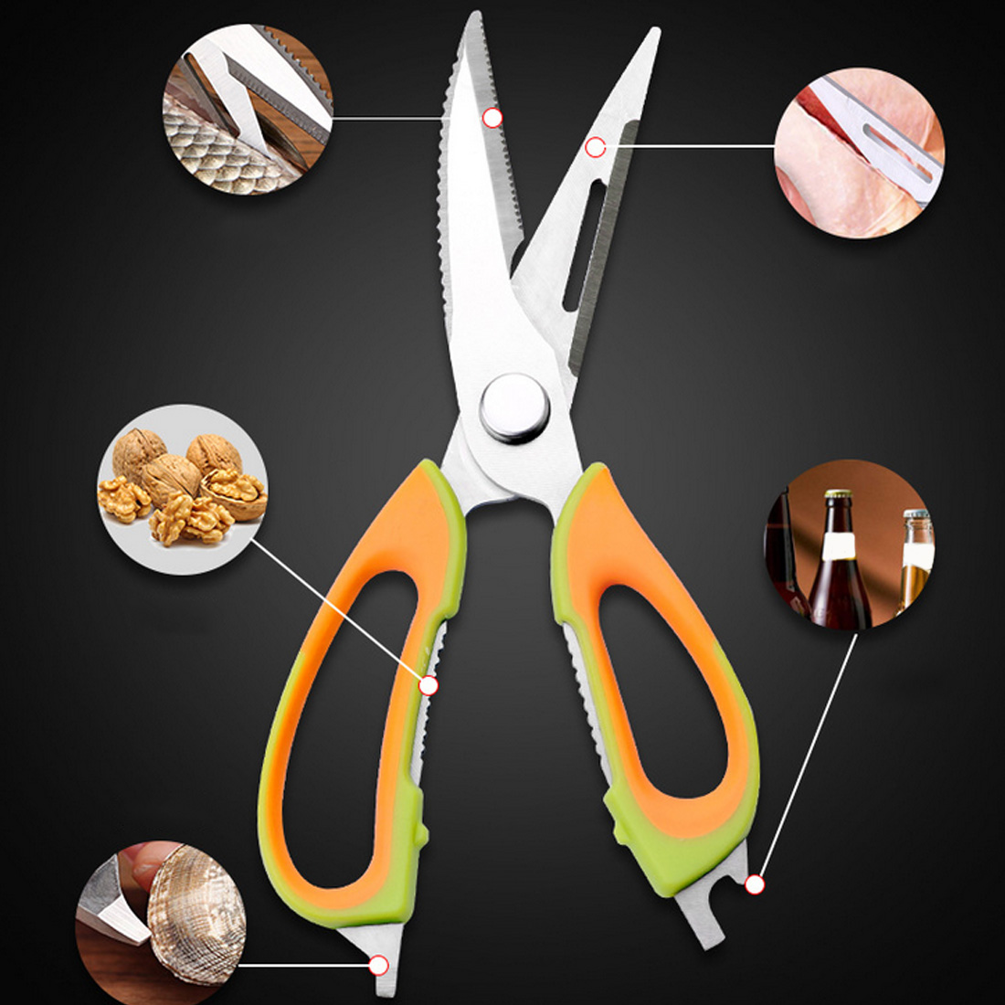 Cutter Cook Tool 220*75mm Multifunctional Poultry Kitchen Chicken Bone Scissor With Magnetic Case Shear Fish Duck Cut