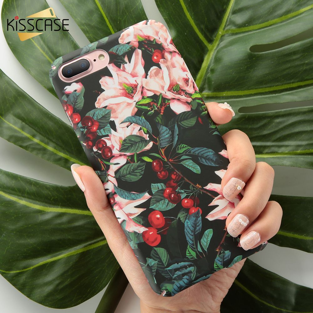 KISSCASE Matte Case For iPhone 7 7 Plus Phone Case For iPhone 6 6s Plus Tropical Style Hard Phone Case For iPhone X 8 Plus Cover