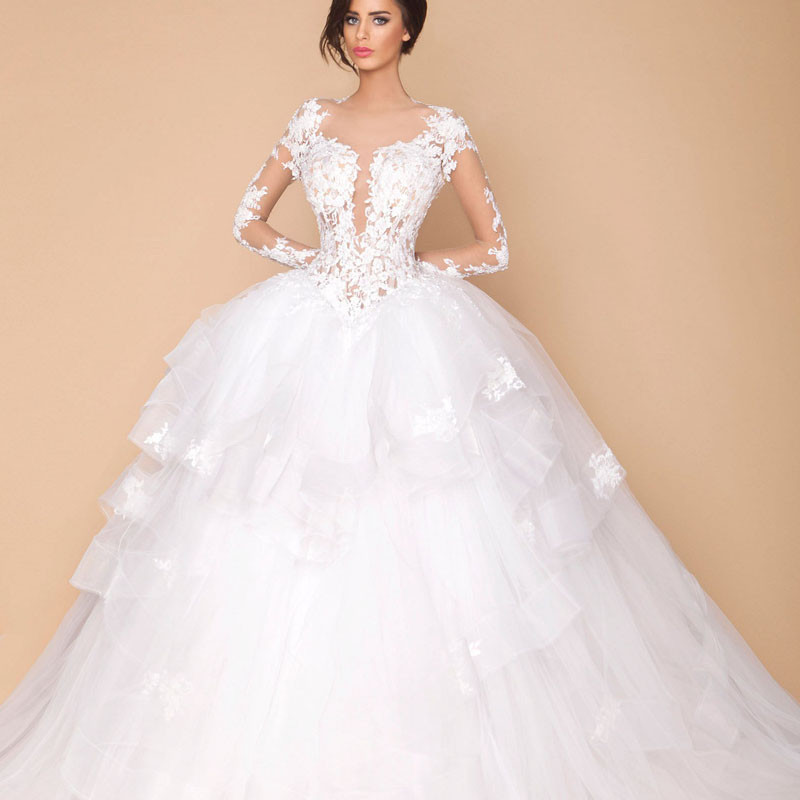 White Tulle Wedding Dress Ball Gown Long Sleeve See Through Lace ...