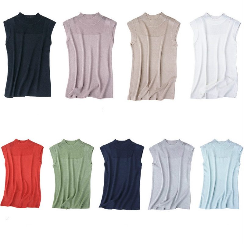 2019 Spring Summer Tank Tops Women Sleeveless <font><b>Haut</b></font> Femme Turtleneck Knitted Vest <font><b>Sexy</b></font> Women Clothes Fashion Casual Top Mujer image