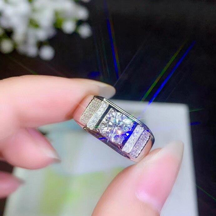 Bague homme moissanite 1 carat, maintenant la pierre gemme la plus populaire, a une dureté élevée, comparable aux diamants. 925 Argent-in Anneaux from Bijoux et Accessoires    1