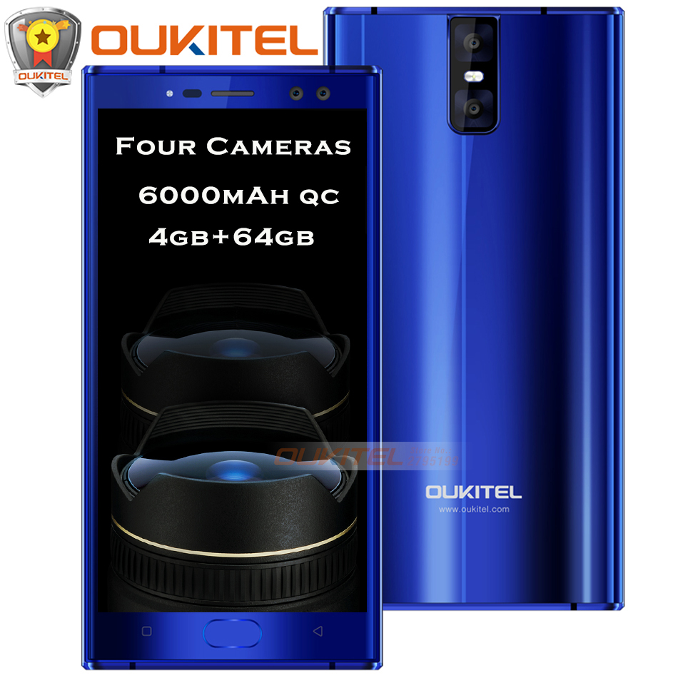 Oukitel K3 Four Cameras Mobile Phone 6000mAh+9V/2A Quick Charge 4GB+64GB 13MP+13MP MT6750T Octa Core Front Touch ID 4G Cellphone