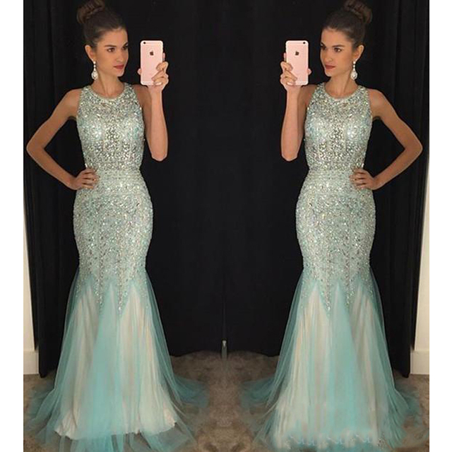 Amazing Full Crystal Beaded Mermaid Evening Dress Long Mint Green  Sleeveless Vestido de festa Sexy Backless Shiny Prom Dresses 7077ef4301aa