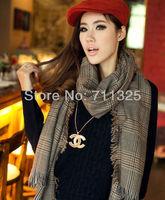 2014 new cashmere plaid grey pashmina warm thermal heavy scarf large size 200*80cm plus size