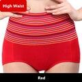 Alta cintura underwear women panties underwear escritos respirables de la mujer cómoda de algodón a rayas bragas culotte femme