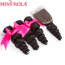 Miss Rola Hair Pre-colored #1b Nature Black Malaysian Loose Wave 3 Bundles with Closure Human Hair Weave Bundles Hair