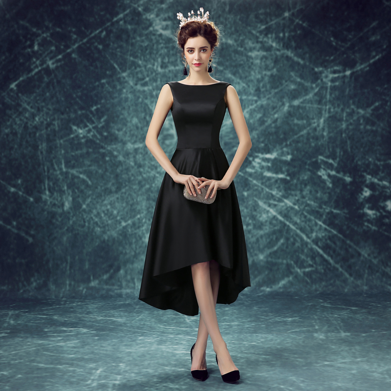 100 Real Image Little Black Dresses Party Evening Dresses Satin