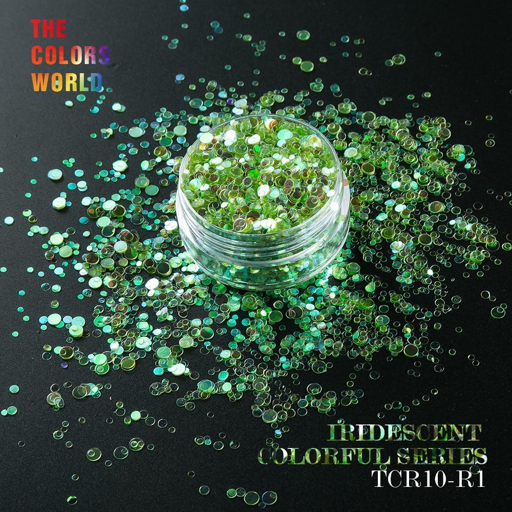 Tct-015 iridiscente Rainbow color forma redonda tamaño de la mezcla ...