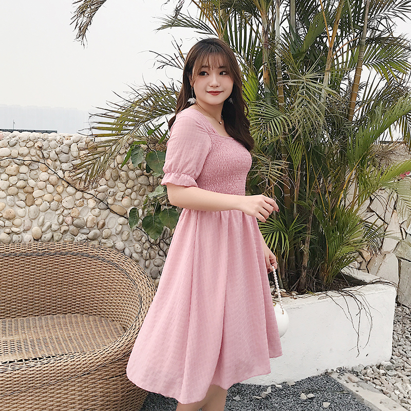 Large Size New Summer Dress Korean Version Versatile Pleated Short Sleeve Back Show Thin Dress 2006 Women's Clothing