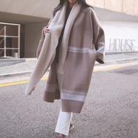 Korean and Japan style plus size loose cardigan sweater for women 2018 new arrival autumn winter striped sweaters coat jn488