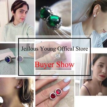 Classic Green Zirconia Stud Earrings Round Crystal Women Multicolor Fashion Jewelry 2