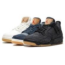 2328bb7793 Jordan 4 Hommes Chaussures de Basket-Ball X Erp Bleu Blanc Noir Respirant  Basketball pour
