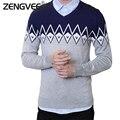 Zengvee 2017 New Arrival Mens Jacquard Sweater Geometric Slim Fit Patchwork V-Neck Pullovers Soft Warm Sweater