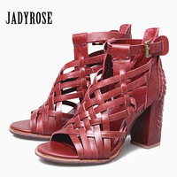 Jady Rose Fashion Weave 2018 Summer Women Sandals Chunky High Heels Peep Toe Hollow Out Genuine