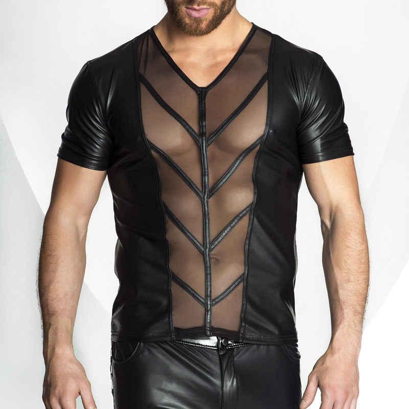 Новый стиль Мужчины искусственная кожа прозрачные сетчатые Топы футболка сексуальная раскрывающая грудные мышцы футболки Топы с коротким рукавом Нижнее белье