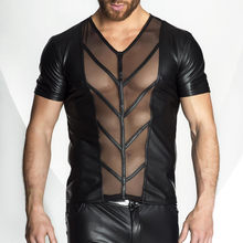 New Style Men Faux Leather Sheer Mesh Tops T-shirt Sexy Revealing Pectoral Muscles Tee Short Sleeve Undershirt Underwear