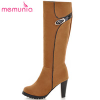 MEMUNIA PU Nubuck Leather Shoes Woman Knee High Boots For Women Spring Autumn High Heels Shoes