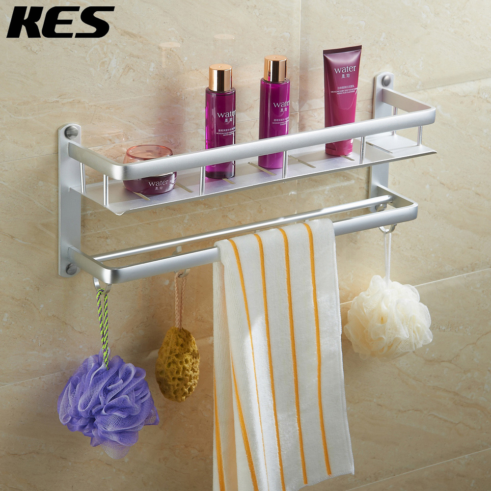 kes 16 inch bathroom shelf with rail towel bar and 5 hooks aluminum heavy duty shower shelving. Black Bedroom Furniture Sets. Home Design Ideas