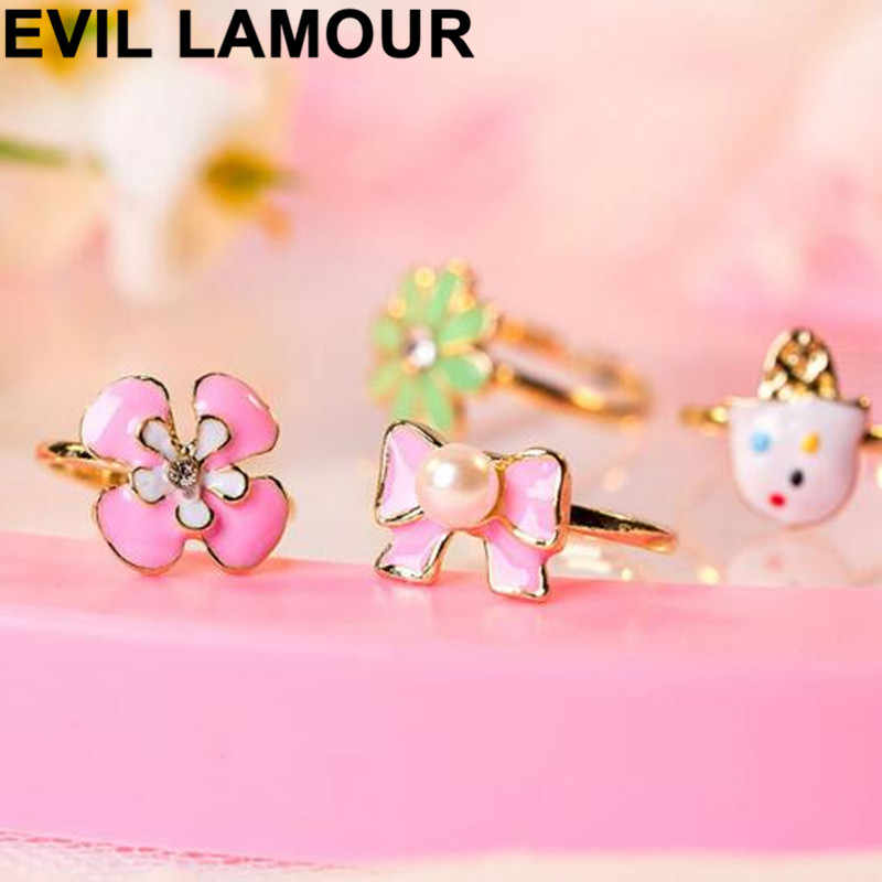 2/10pcs/lot Love Kids Cute Sweet Rings Design Flower Animal Jewelry Accessories Girl Child Christmas Gifts Finger Rings