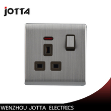 UK Standard Metal Wall Socket 13A 250V With One Button LED Indicator Light British Style